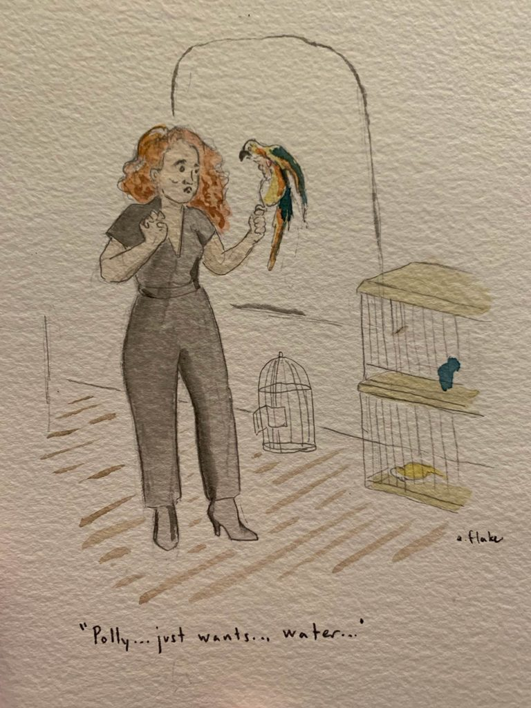 "Amanda with bird, ""Polly just wants water"""